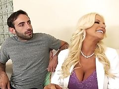 Giant Racked Blonde Cougar Brittany Andrews Works On Two Fat Boner Chisels