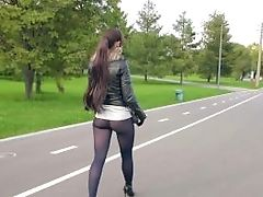 Jeny Smith High Stilettos Black Pantyhose Public Walk