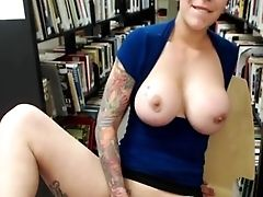 School Damsel W/ Big Tits Plays In Library