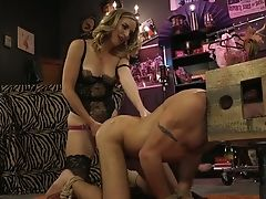 Subordinated Dude Smooches Sexy Feet Of Horny Mistress With Big Strap-on