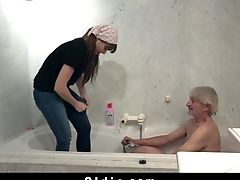 Youthful Maid Loves Banging Old Hard-on In Hairy Twat