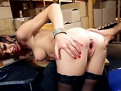 Filthy Office Fuckslut Is Antsy To Sate Her Chief And His Accomplice