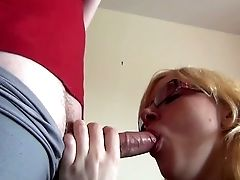 Pierced Trampy Blonde In Glasses Performs Solid Bj On Camera