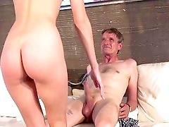 Youthfull Female Drinks Grand-pa's Jism After A Good Fuck