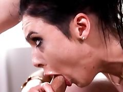 Black-haired Breezy Gasps With Manmeat Before Ending With Facial Cumshot