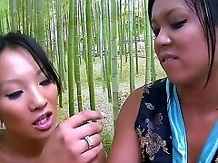 Asa Akira And Tasha Lynn Are Very Cool Bisexual Sweeties From Asia. They Met A Fellow In A Restaurant And Now Are Already On Their Knees Sucking His D