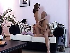 Bald Grandfather And A Pretty Dame Fucking Passionately