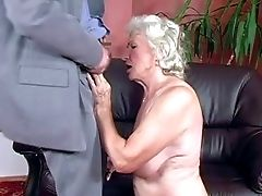 Brief Haired Blonde Granny Norma With Suspending Knockers In Milky