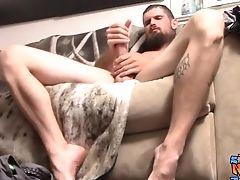 Bearded Jock Nolan Strokes Off Heterosexual Big Man Rod Solo