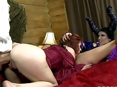 Crimson-haired Princess Violet Monroe And Huge-boobed Witch Romi Rain Share