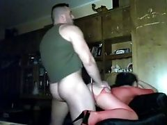 Gigantic Stud Fucks His Insane Gf Wearing Sexy Crimson Stockings
