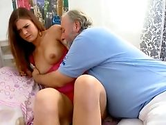 Old Fart Anxiously Licks This Coed's Deliciously Sweet Punani
