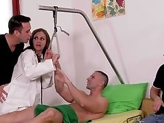 Horny Masculine Stuffs His Dick In The Stunner's Booty While Two Other Paramours Gag Her
