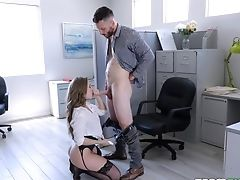 Sinful Big-chested Milfie Assistant Cannot Get Enough From Railing Strong Pink Cigar