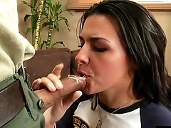 Seduced Black-haired In Socks Welcomed With Deepthroat Smashing