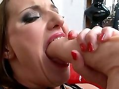 Trampy Vamp Works Out Her Mouth With Realistic Faux-cock Before She Takes In Rocco Enormously Fat Orgasm Generator. This Honey Has Big Practice In Suc