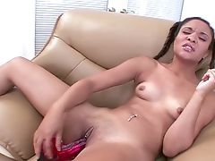 Ponytailed Teenager With A Belly Button Piercing Is Drilling Her Gash With Her Fuck Stick
