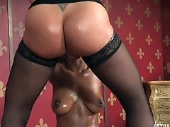 Crazy Black Slag Gasps On A Big Equipment And A Pulsating Member