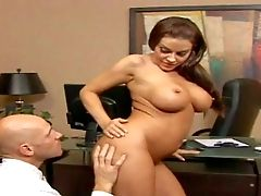 Arousing Curvy Dark-haired Assistant With Big Jaw Pulling Down Hooters And