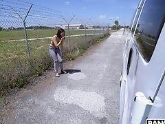 Gonzo Fucking In The Van With Beautiful Latina Harmony. Hd