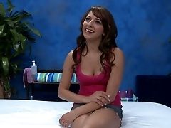 Black-haired Chick Lexi Bloom Gets Interviewed Sitting On The Rubdown