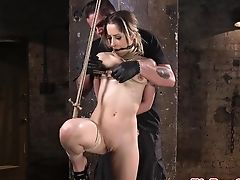 Spreadeagle Sadism & Masochism Sub Restrained For Fingerblasting