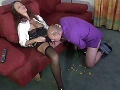 Henpecked Hubby Licks Whorish Raw Honeypot Of Harsh German Wifey Jessy