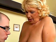 Horny Dweeb Mark Zicha With Glasses Gets His Stiff Salami Sucked By Horny Blonde Gilf Regi With Sweet Suspending Knockers And Raw Make Up And Drills H
