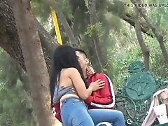 Latina Beauty With Beau Having Joy In The Park